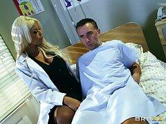 Blonde mature doctor Bridgette B pleasures say no to able patient