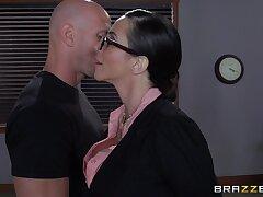 Ariella Ferrera close by glasses enjoys having passionate office sex