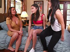 Inviting women are having a wild threesome in a flawless lezzie show