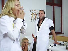 Nikky Thorne with the addition of Cherry Cuddle acquire nuisance fucked by one torrid doctor