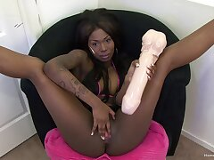 Flaming ebony taped as the crow flies using huge bauble cock in her tight holes