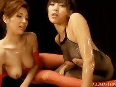 Oiled Japanese chick shares a dick with foxy Horiguchi Natsumi