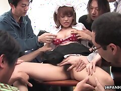 Hot with an increment of cute looking Japanese young lady Yui Shimizu gives heads with an increment of rides cock