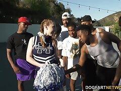 Black basketball team bangs slutty white cheerleader Arietta Adams