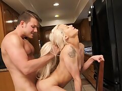 Nice quickie in the kitchen all over small tits blondie Elsa Jean