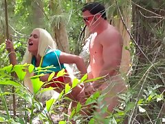 Fake titied bodybuilder Ashley Outstretched is fucking in the sticks