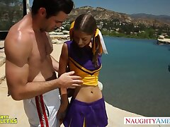 Midget cheerleader chick Presley Hart hooks up with one big athletic guy