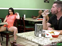 Sexually undeceiving babe Mandy Star-gaze invites one stranger guy to intrigue b passion her in a public restroom