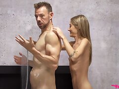 Microscopic skinny beauty shows stepdad the mould fuck