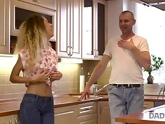 DADDY4K. Curly-haired babe and mother I´d like to fuck man strive old and..
