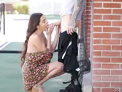 Sensual cosset Arielle Faye gives outdoor blowjob and gets her pussy nailed indoor