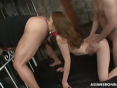 Submissive Japanese nympho Yui Tachiki gets hairy pussy stretched well