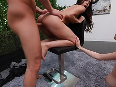 Complete casting porn session with three amateurs