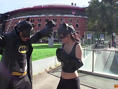 Catwoman swallows masked dude's cum after a masked fetish fuck