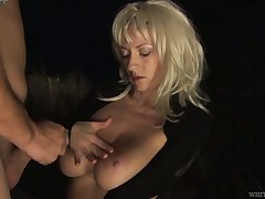 Spry natural juggy wife Eve W is fucked off out of one's mind stranger in front of cuckold husband