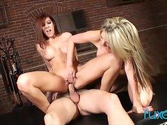 Courtney Cummz and Lexi Lamour trinity with big pierced cock gay blade
