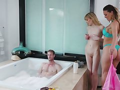 Two superb masseuses are fucking one handsome guy with big dick