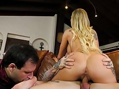Cuck watches his gorgeous blonde wife ride a constant dick