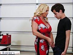 Always sex-starved step-aunt Tyler Faith fucks her nephew plus sucks his big cock