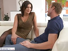 Buxom alluring sexpot with rounded plunder Becky Bandini is poked from behind