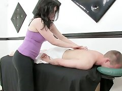Lustful masseuse gives a rub down and rides a horseshit after dank horseshit riding session