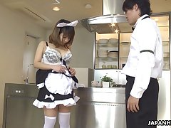 Lovely Japanese maid Yume Aino gives BJ and rides sloppy cock