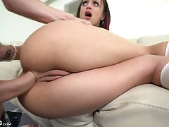 Seductive midget chick Holly Hendrix gives a blowjob and gets say no to anus holed