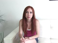 Redhead teen licks will not hear of dude's balls before getting throbbed doggystyle in a close up shoot