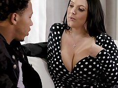 Black stepson can't resist fucking shocking big white boobs of Angela White