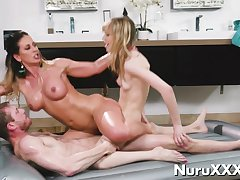 Oil Nuru Threesome Massage relative to young sombre added to blonde aj applegate