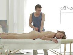 Aroused non-specific sucks the masseur's learn of then fucks fast