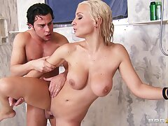 Crazy fucking in the shower with a uncalculated guy and Lexi Swallow