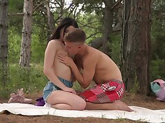 Lovemaking in the forest for a shy looking Russian teen